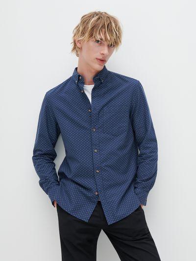 Koszula w kropki z bawełny organicznej - Granatowy