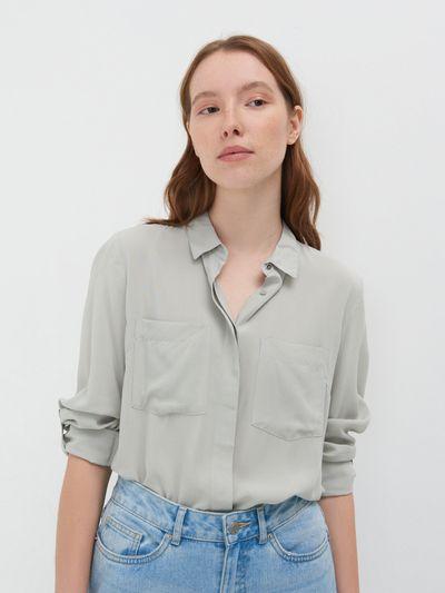 Klasyczna koszula z wiskozy - Zielony