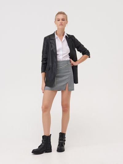 Spódnica mini z łańcuchem - Granatowy