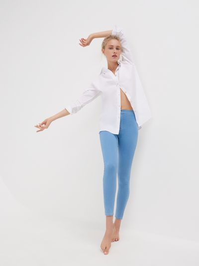 Jeansy super skinny z wysokim stanem ECO AWARE - Niebieski