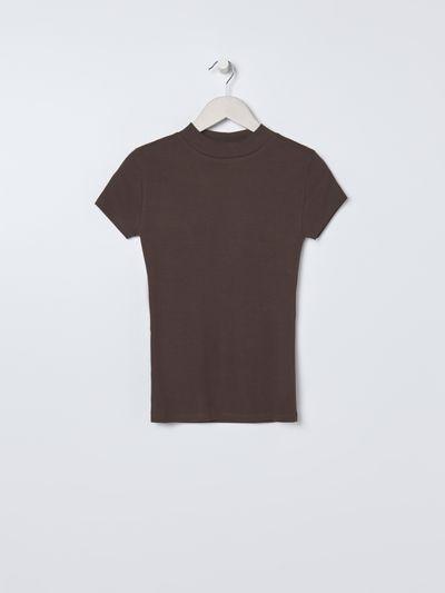 Prążkowana bluzka z krótkim rękawem - Brązowy