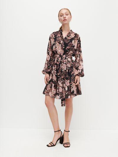 Sukienka w kwiaty - Czarny
