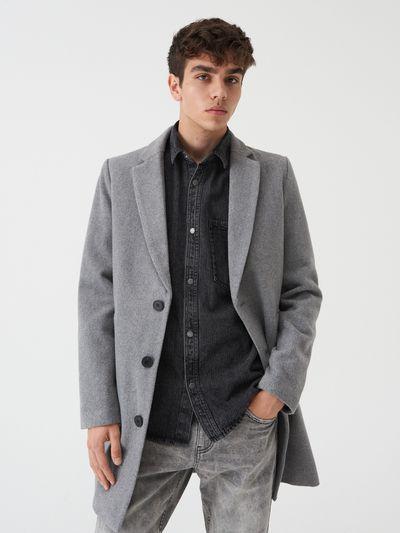 Klasyczny jednorzędowy płaszcz - Szary